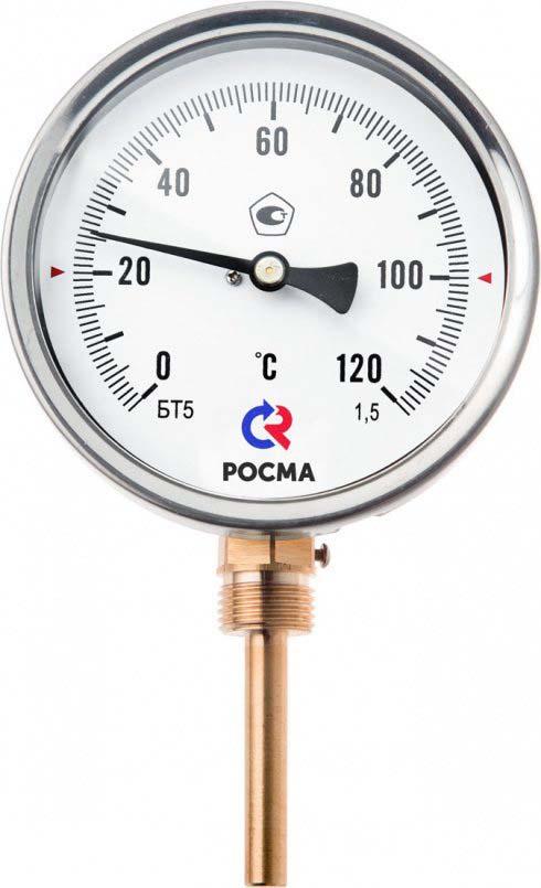 Термометр сантехнический Valtec БT-51 Дy 100 с задним подключением, 1/2 0-120* stout термометр биметаллический с погружной гильзой корпус dn 80 мм гильза 75 мм 1 2