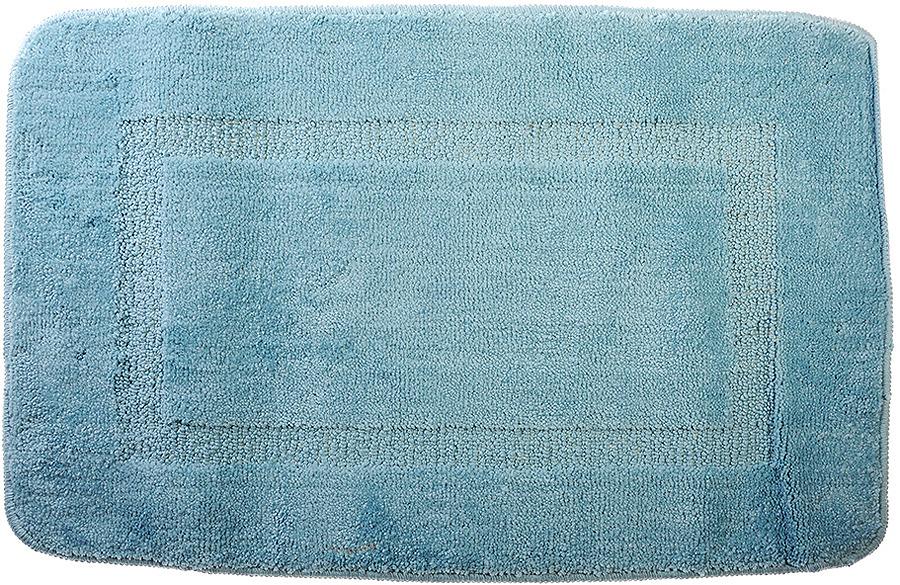 Коврик для ванной SonWelle Квадрат, 599057, голубой, 50 х 75 см коврик для ванной комнаты aqua line мята цвет светло голубой 50 х 75 см