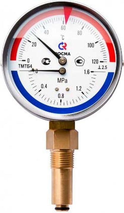 Термоманометр сантехнический Valtec ТМТБ-41Т Дy 100, с задним подключением 1/2, 6 бар 0-150* термометр сантехнический valtec бt 30 dy63 накладной 0 150