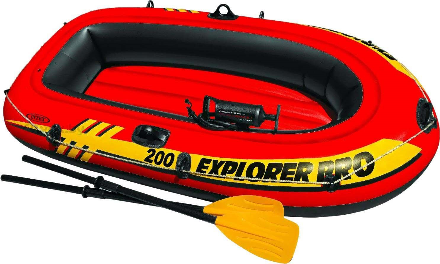 Лодка надувная Intex Explorer Pro 200 Set, 58357NP, с веслами и насосом, до 120 кг, 196 х 102 х 33 см