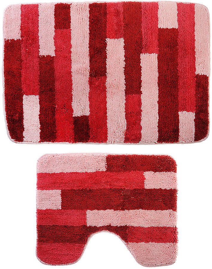 Набор ковриков для ванной SonWelle Полоска, 599076, розовый, 2 шт
