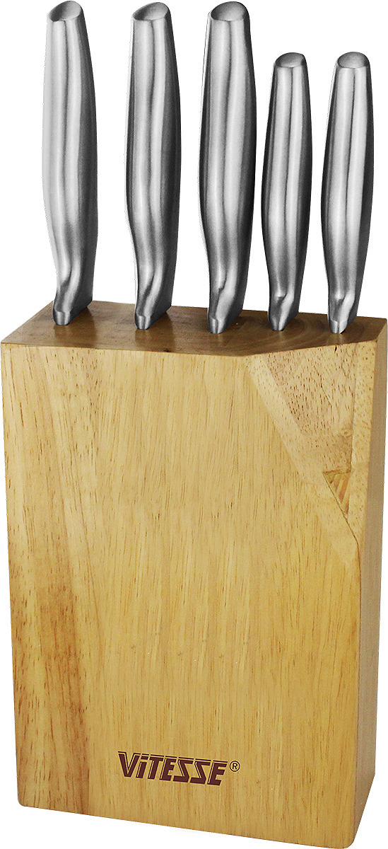 Набор кухонных ножей Vitesse, на подставке, VS-2743, серебристый, 6 предметов