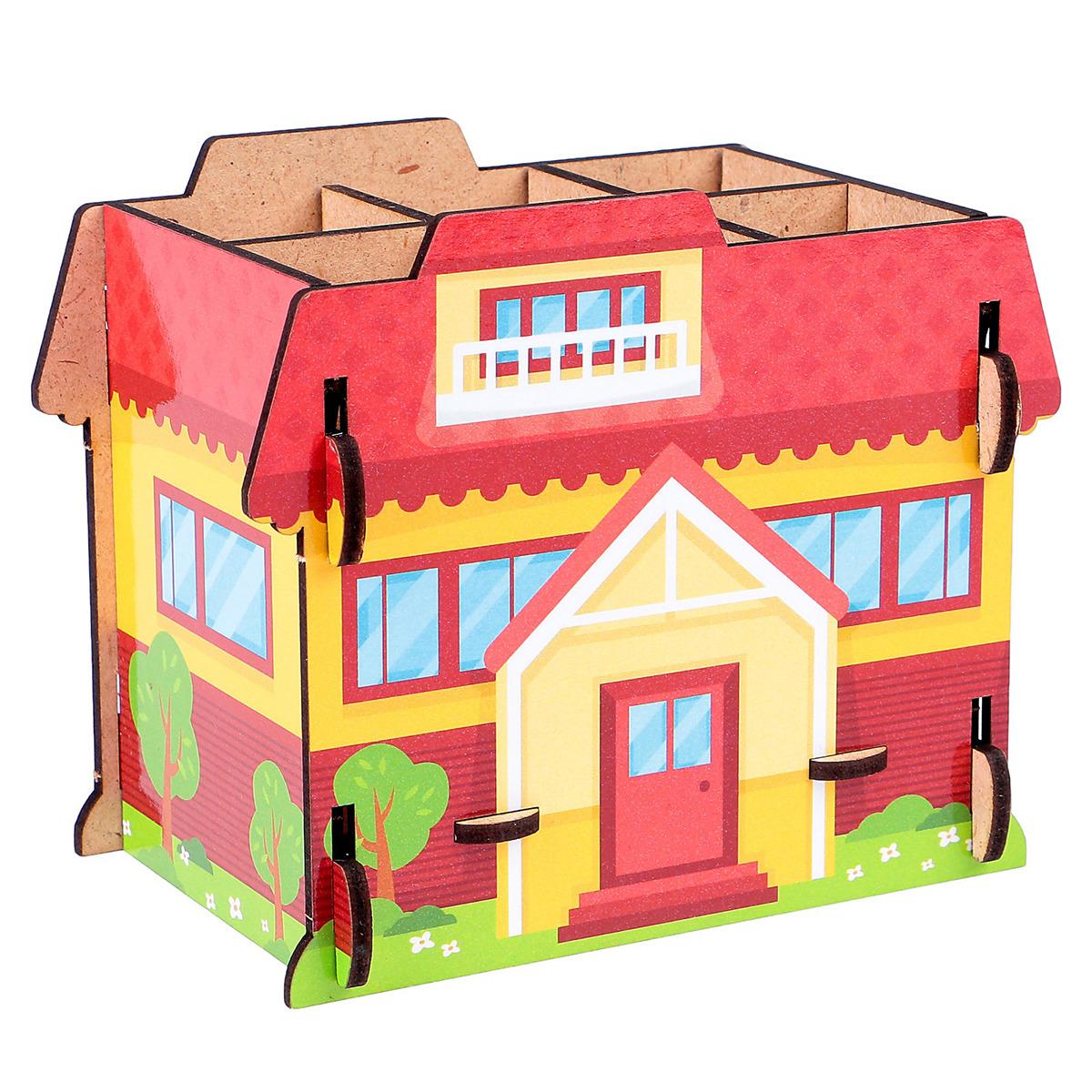 Подставка для канцелярских принадлежностей Дом, 3649875, красный принадлежности для дома new shk1008