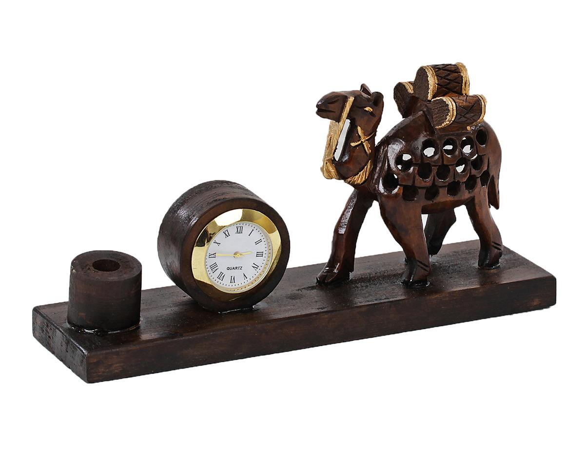 Подставка для канцелярских принадлежностей Верблюд, с часами, 2359045, коричневый, 10 х 19 х 6,5 см
