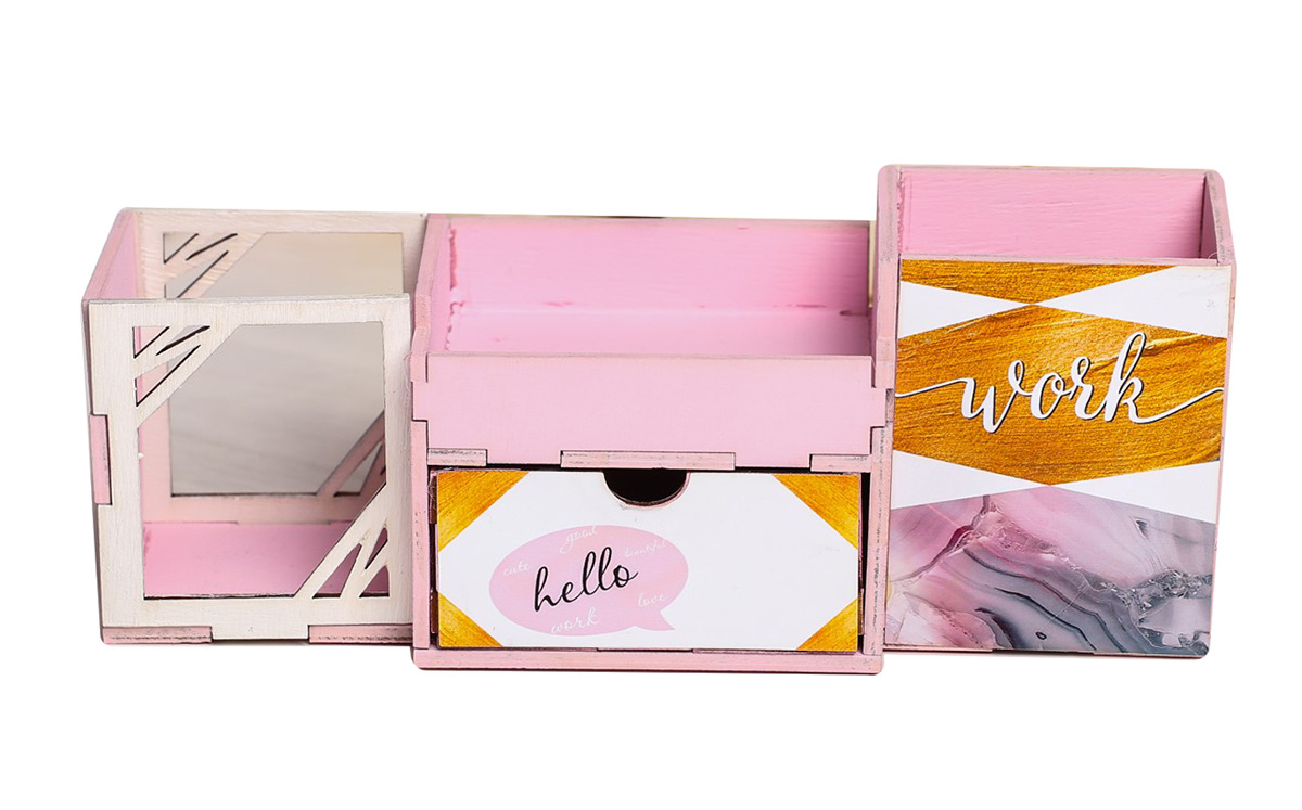 Органайзер для хранения канцелярских принадлежностей Work, настольный, 3946980, розовый