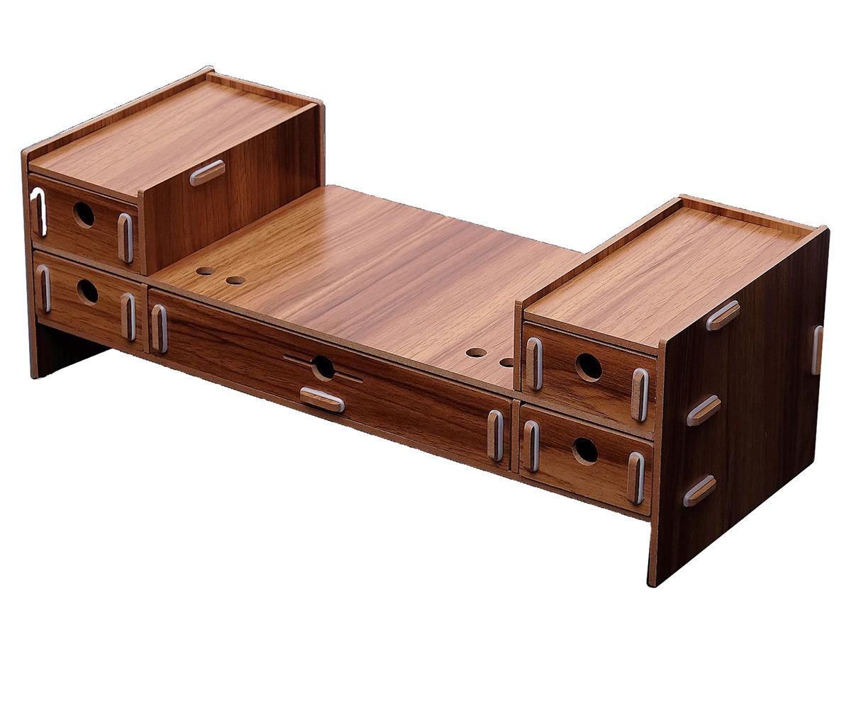 Органайзер для хранения канцелярских принадлежностей, сборный, 5 выдвижных ящиков, 3628379, коричневый, 48 х 19 х 16 см