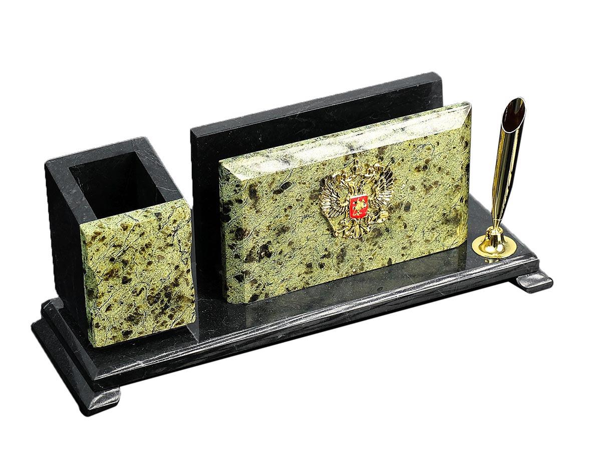Визитница канцелярская, настольная, с гербом, малая, 851576, зеленый