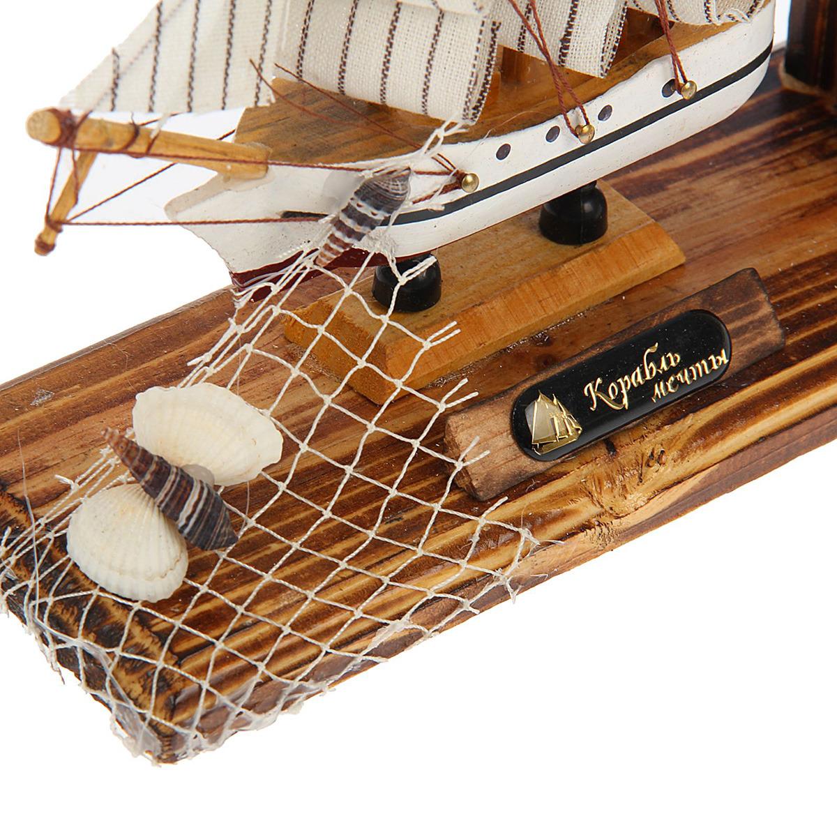 Подставка для визиток Корабль, с карандашницей, 1531152, коричневый, 15 х 22 см Иу Жусима Крафтс Кампани Лимитед