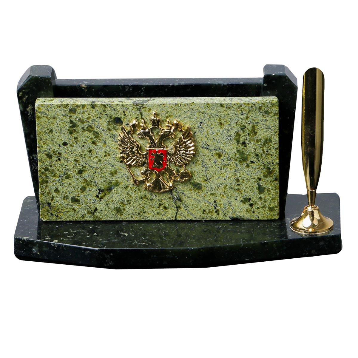 Канцелярский набор Офис с гербом, 423894, зеленый, 17 х 7 х 8 см