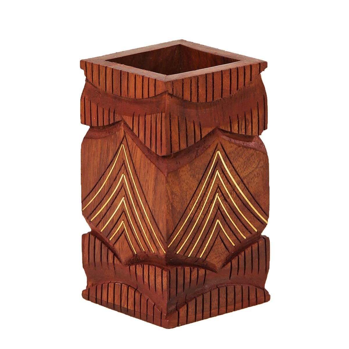 Подставка для канцелярских принадлежностей Гора, 2358227, коричневый, 5,7 х 5,7 х 10 см