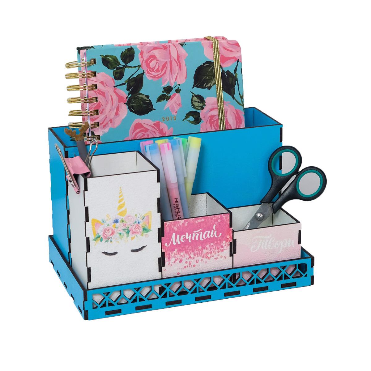 Подставка для канцелярских принадлежностей Единорог, складная, 4146868, голубой, розовый, белый, 23,5 х 15 х 14,2 см