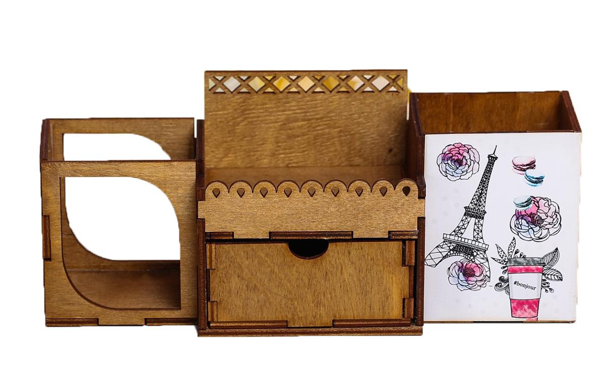 Органайзер для хранения канцелярских принадлежностей Париж, настольный, 3946982, мультиколор
