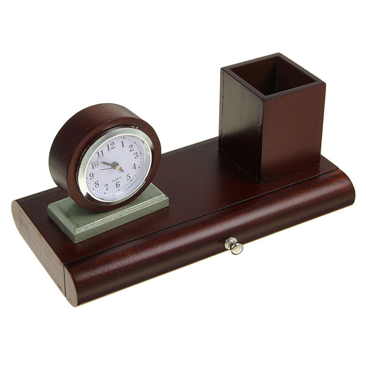Канцелярский набор Часы 3 в 1, 1770852, коричневый, 10 х 22,5 см