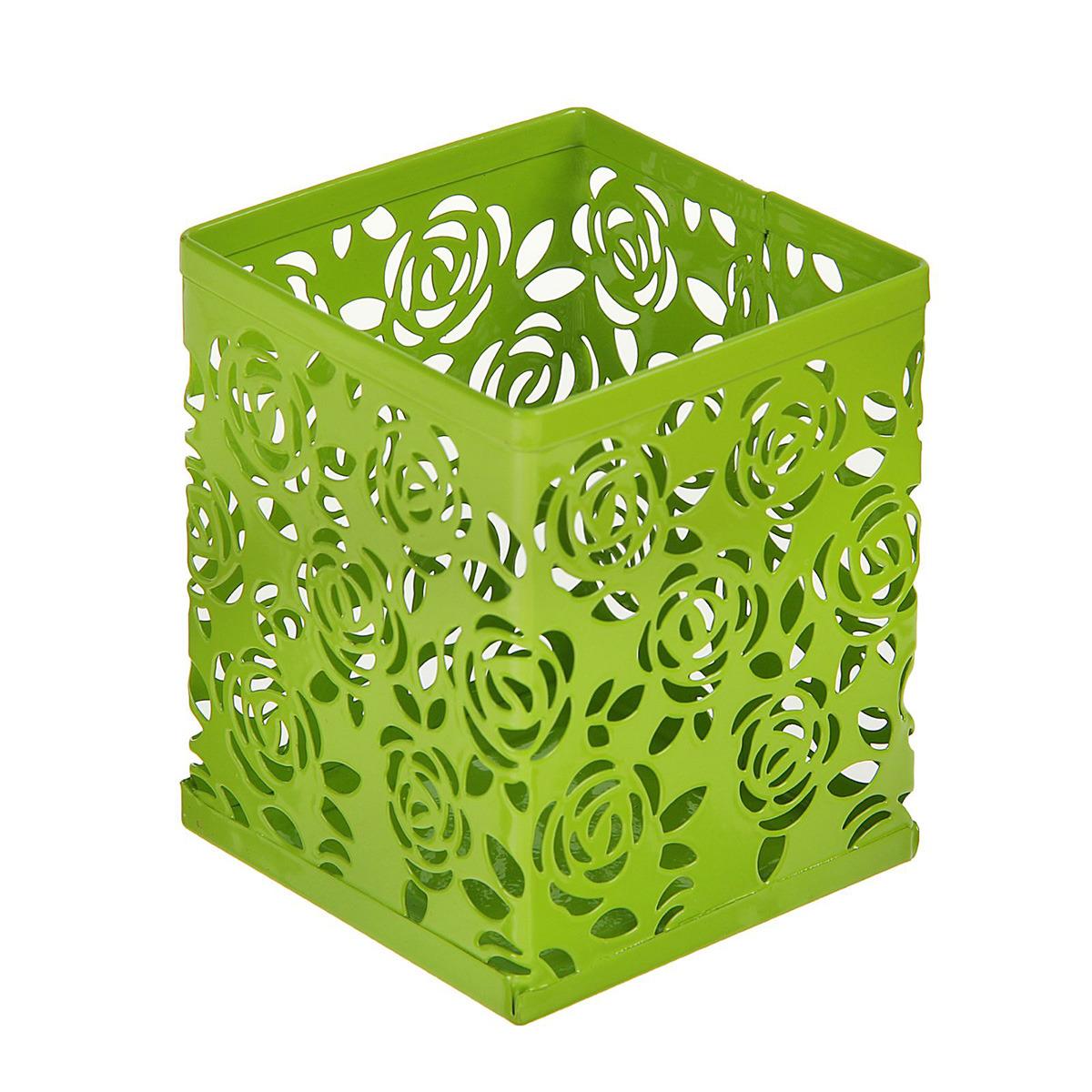 Подставка для канцелярских принадлежностей Calligrata Стакан, квадратная, 1509031, зеленый