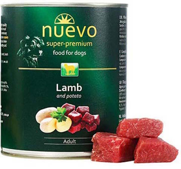 Корм консервированный для собак Nuevo, ягненок с картофелем, 800 г лакомство для собак 8 in 1 minis ягненок и шпинат с картофелем 100г