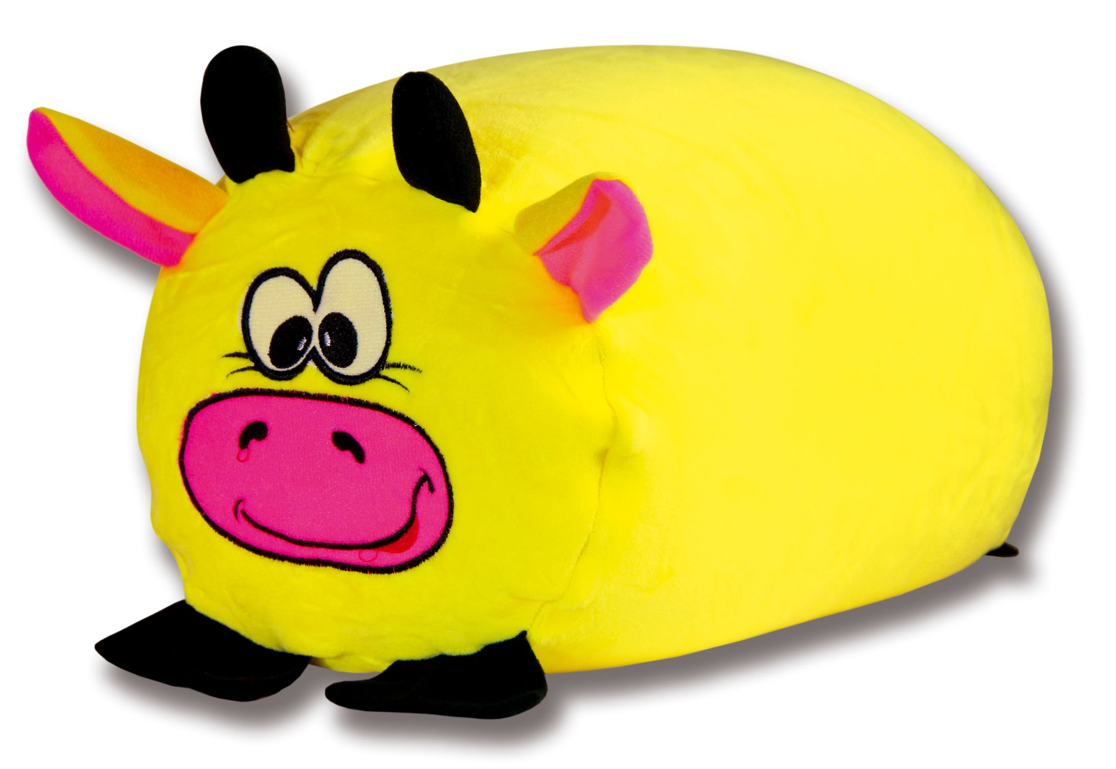 Подушка-валик антистрессовая Штучки, к которым тянутся ручки Зверь. Коровка, цвет: желтый, 38 x 18 см подушка валик антистрессовая штучки к которым тянутся ручки кот полосатый цвет малиновый 38 x 18 см