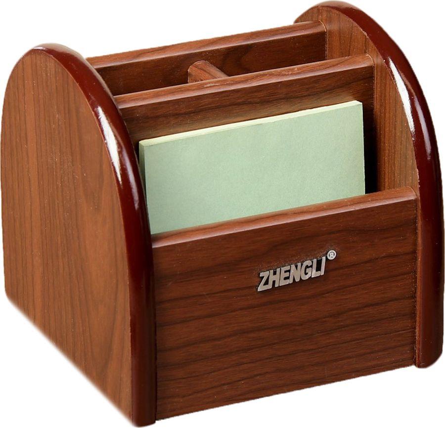 Органайзер для хранения канцелярских принадлежностей Орех, вращающийся, 4 секции, 1268454, коричневый, 12 х 12,5 см