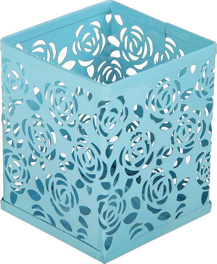 Подставка для канцелярских принадлежностей Calligrata Стакан, квадратная, 1509032, голубой