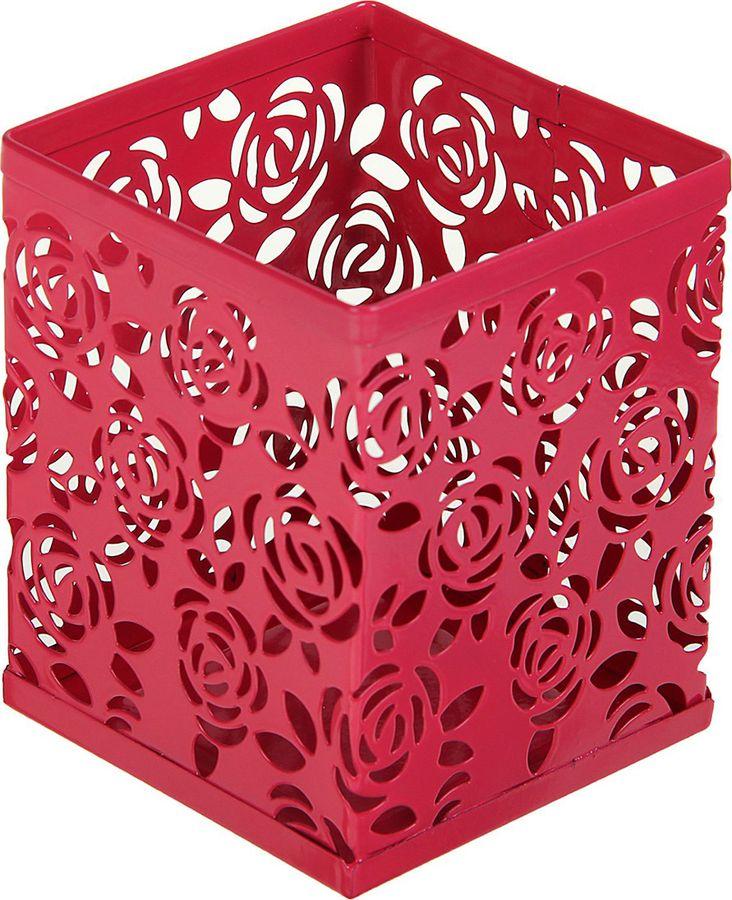 Подставка для канцелярских принадлежностей Calligrata Стакан, квадратная, 1509033, розовый