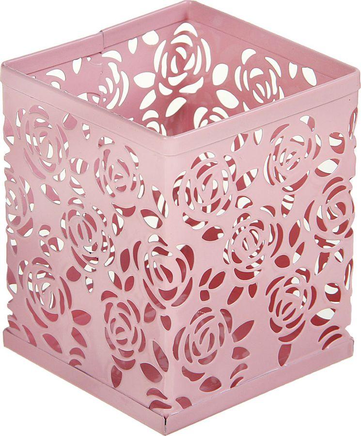 Подставка для канцелярских принадлежностей Calligrata Стакан, квадратная, 1509034, розовый