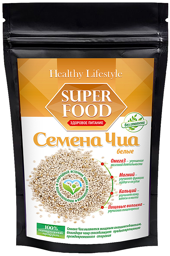 Семена Чиа Healthy Lifestyle белые, 150 г
