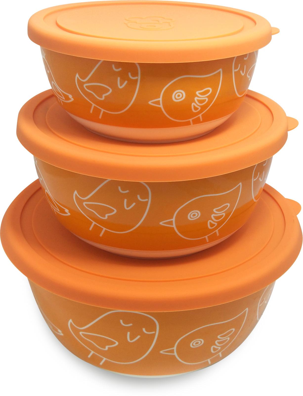 Набор салатников Oursson, с крышками, BS4085RC/OR, оранжевый, 3 шт