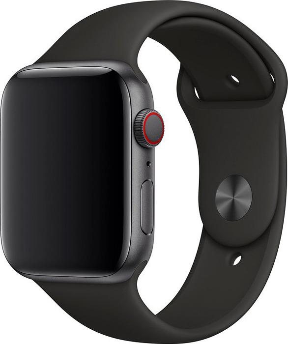 Ремешок для смарт-часов Apple Watch 44mm Black Sport Band, черный, размер M/L & X/L аксессуар ремешок apple watch 38mm nike sport band s m m l black platinum mqwh2zm a