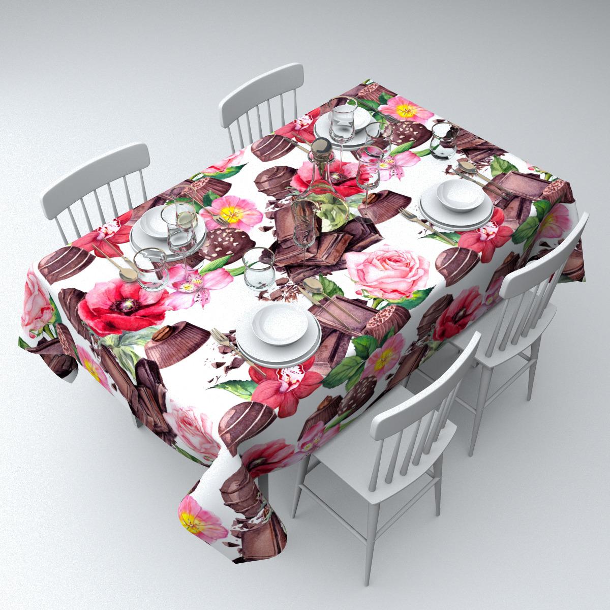 """Скатерть Сирень """"Чайный набор"""", СКГБ004-12967, белый, 145 х 220 см"""