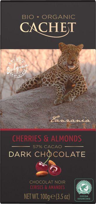 Шоколад горький Cachet Organic, 57% какао, с миндалем и вишней, 100 г цены