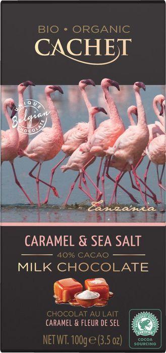 Шоколад молочный Cachet Organic, 40% какао, с карамелью и морской солью, 100 г lindt excellence темный шоколад с карамелью и морской солью 100 г