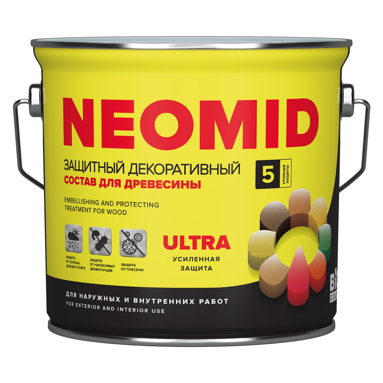 Декоративная лазурь neomid Bio Color Ultra, Палисандр , 2,7л деревозащитный состав для бань и саун neomid professional 200 500 мл