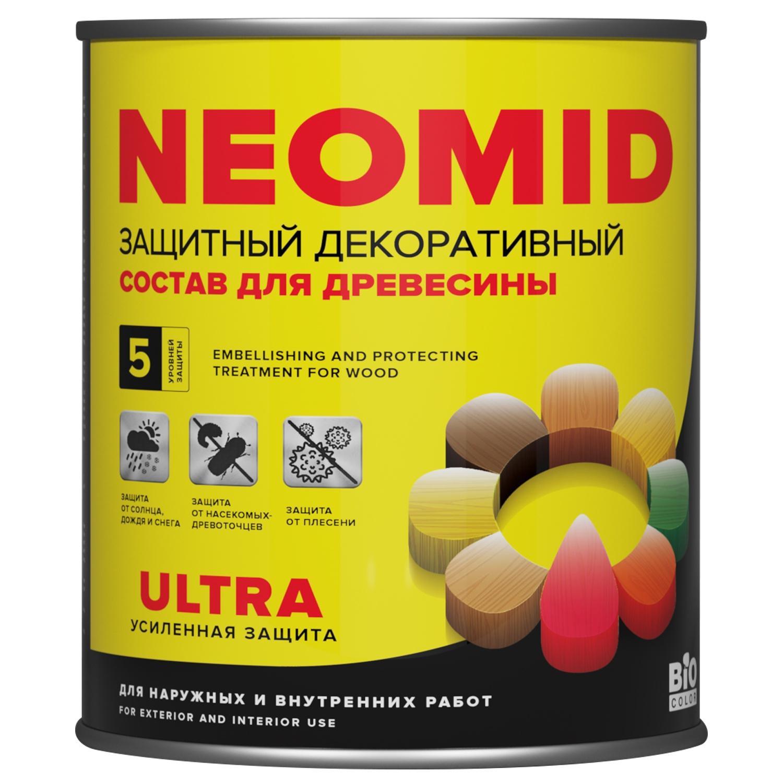 Декоративная лазурь Neomid Bio Color Ultra, Бесцветный , 0.9л деревозащитный состав для бань и саун neomid professional 200 500 мл
