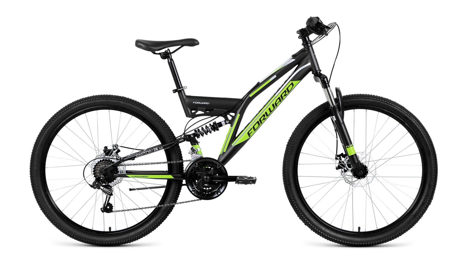 Велосипед Forward Raptor 26 2.0 disc, черный вилка амортизационная suntour гидравлическая для велосипедов 26 ход 100 120мм sf14 xcr32 rl 26