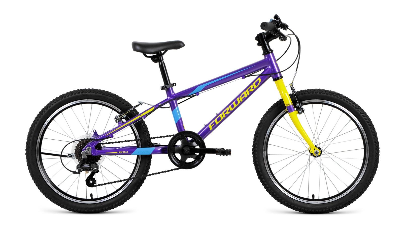 Велосипед Forward Rise 20 2.0, фиолетовый, желтый велосипед forward iris 20 желтый ростовка 10 5