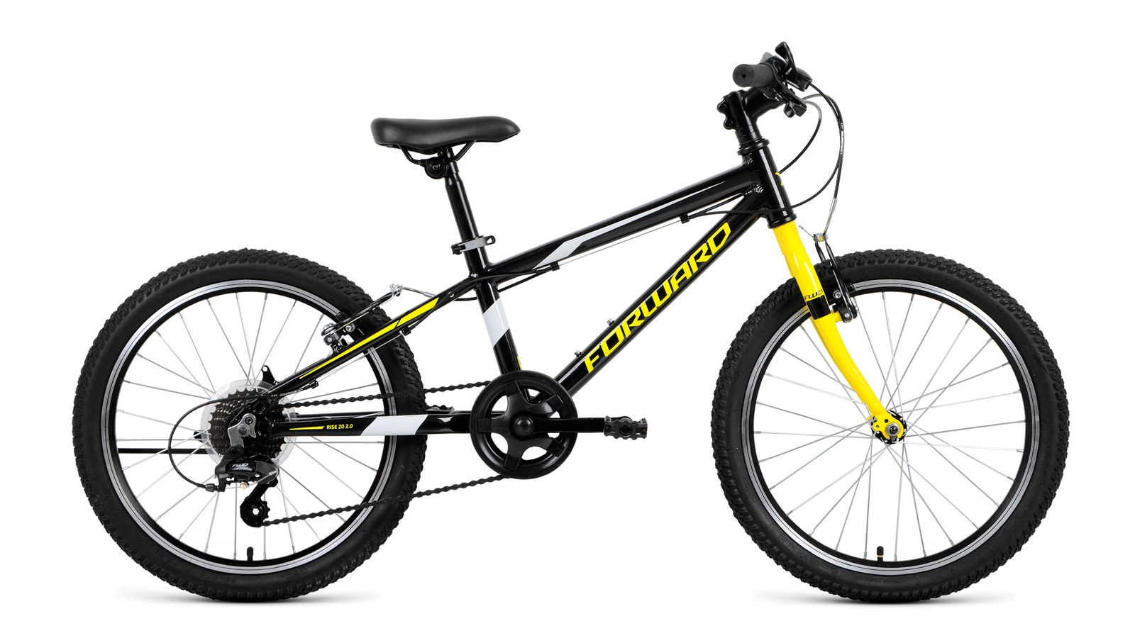 Велосипед Forward Rise 20 2.0, черный, желтый
