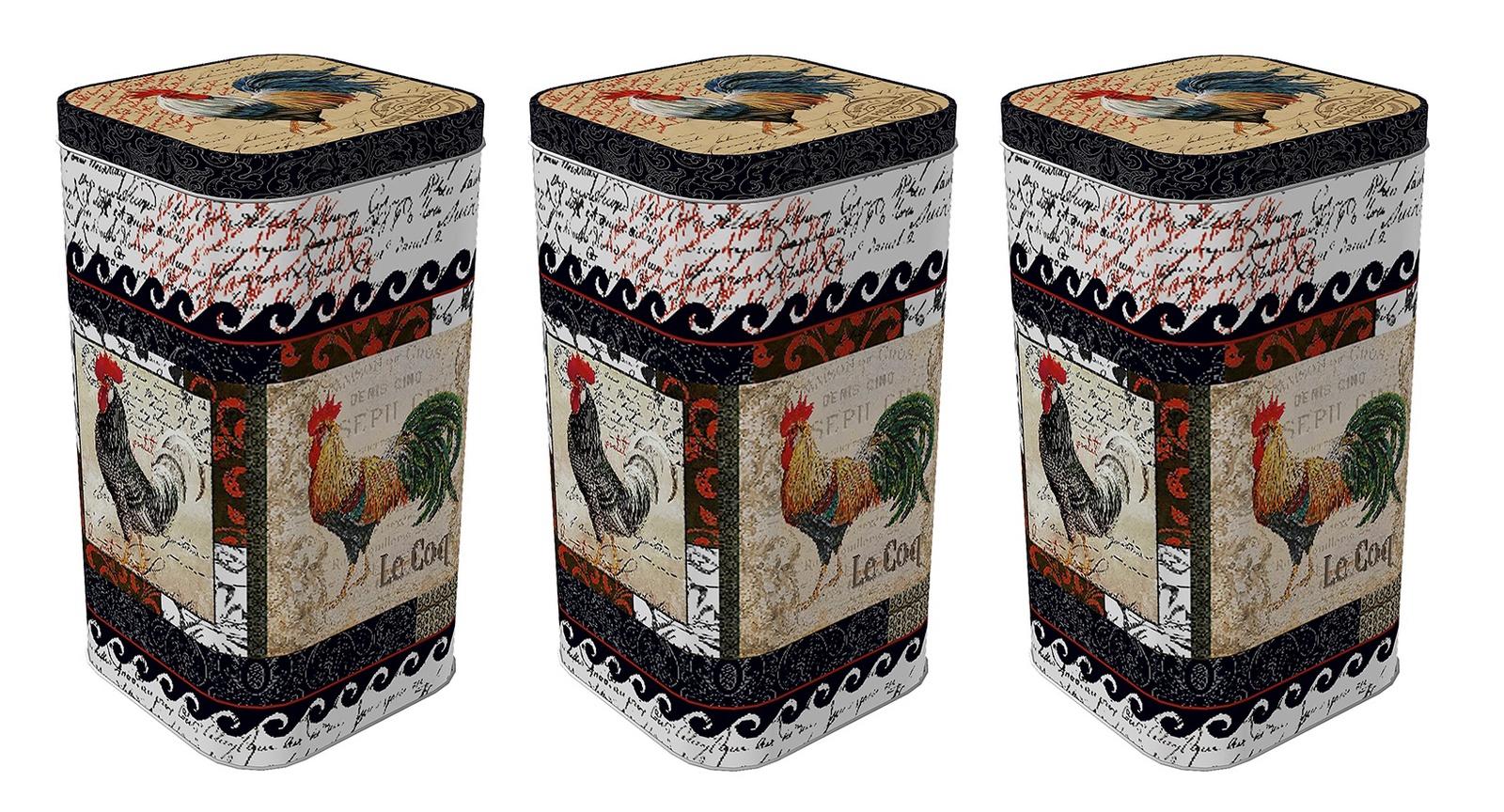 Банка для сыпучих продуктов Рязанская фабрика жестяной упаковки Петухи 1,4л, 3 шт, Жесть хранение продуктов