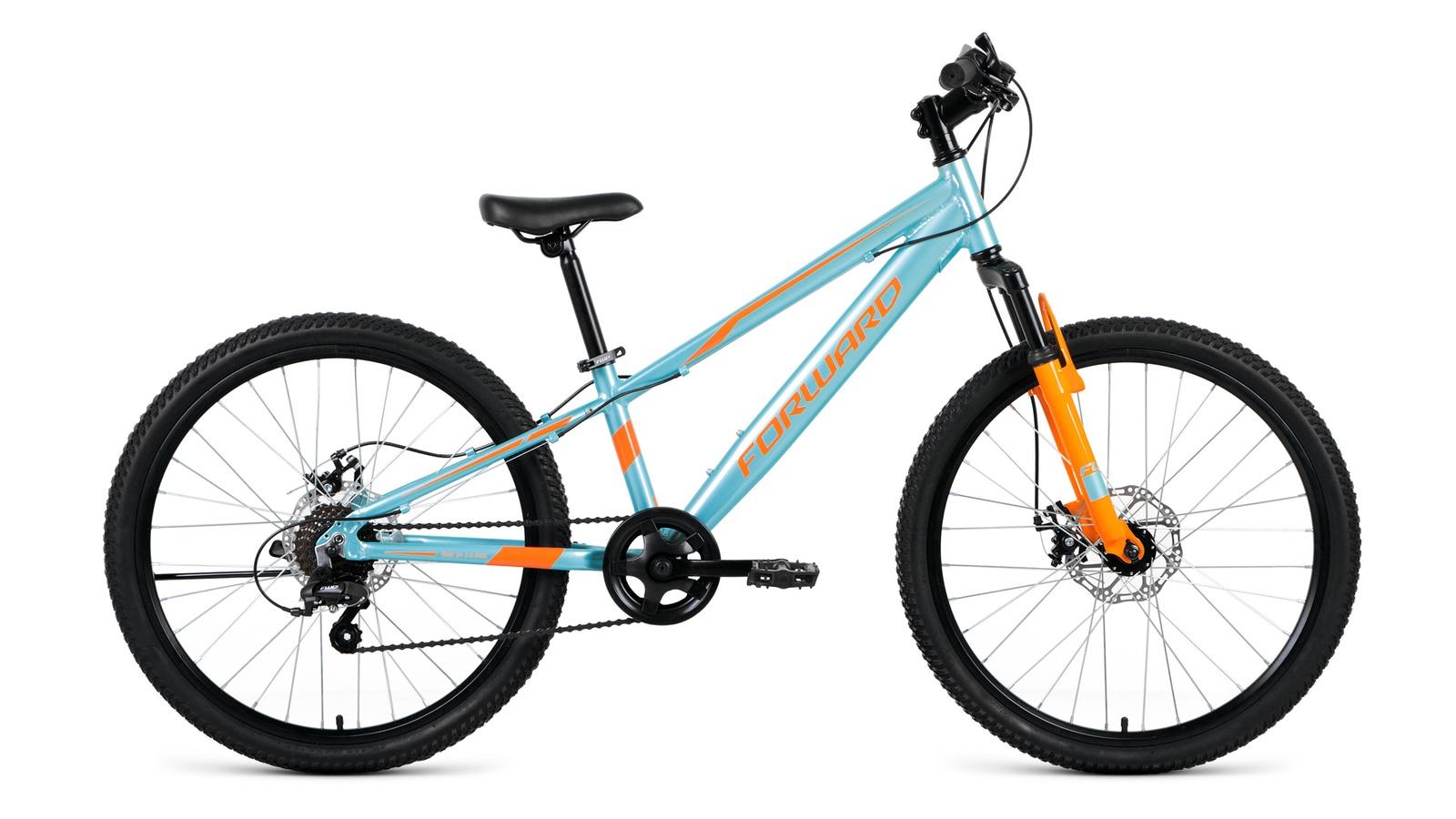 Велосипед Forward Rise 24 2.0 disc, голубой, оранжевый