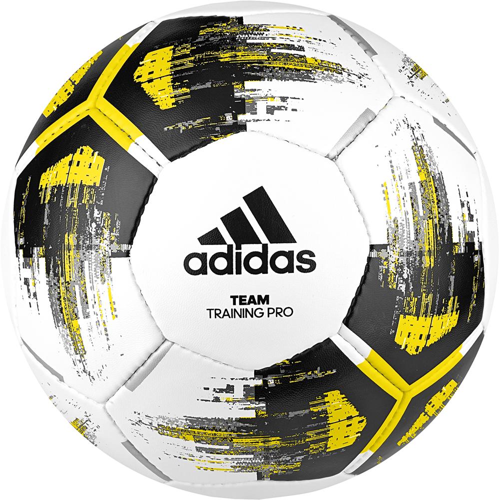 Мяч футбольный Adidas Team Training Pro, CZ2233, белый, желтый, черный, размер 3 мяч футбольный adidas real madrid fbl cw4156 белый серый размер 3