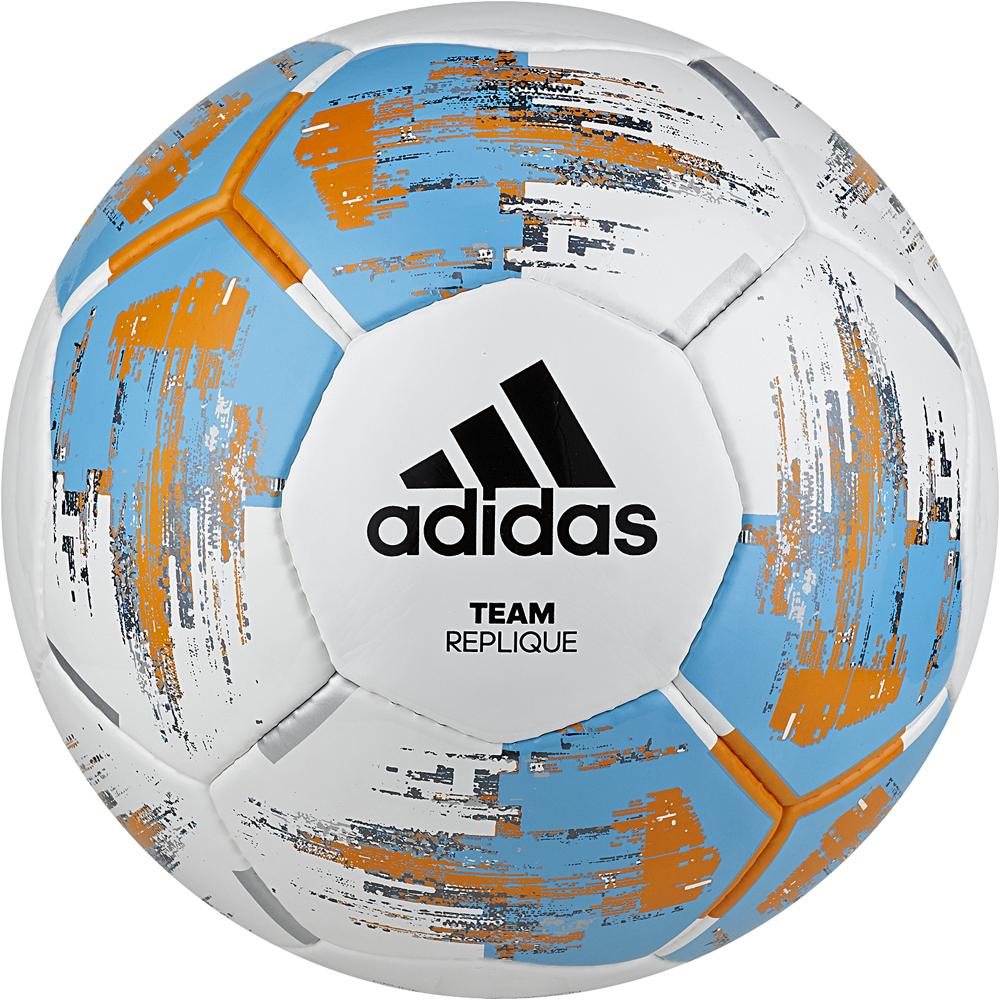 Мяч футбольный Adidas Team Replique, CZ9569, белый, голубой, оранжевый, размер 5 мяч футбольный adidas conext19 cpt dn8640 белый красный размер 5