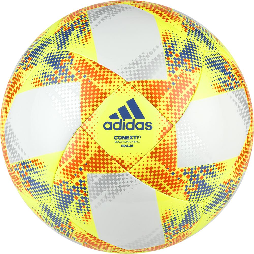 Мяч футбольный Adidas Conext19 Praia, DN8634, белый, желтый, оранжевый, размер 5 мяч футбольный fifa 2018 sochi размер 5