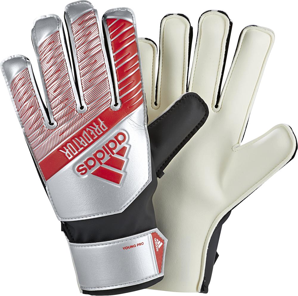 Вратарские перчатки детские Adidas Young Pro, DY2612, серебристый, красный, размер 6,5