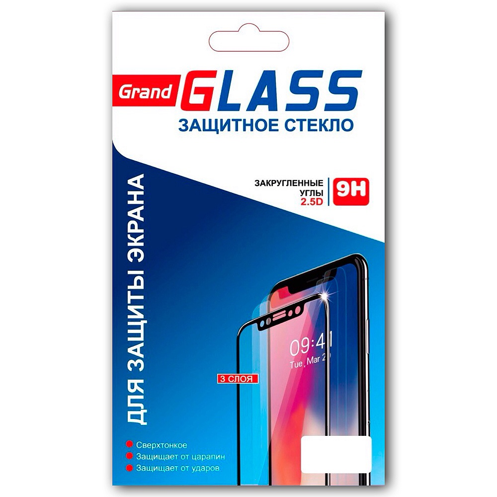 Защитное стекло Huawei Y5 Prime 2018 / 7A Silk Screen 2.5D, черный