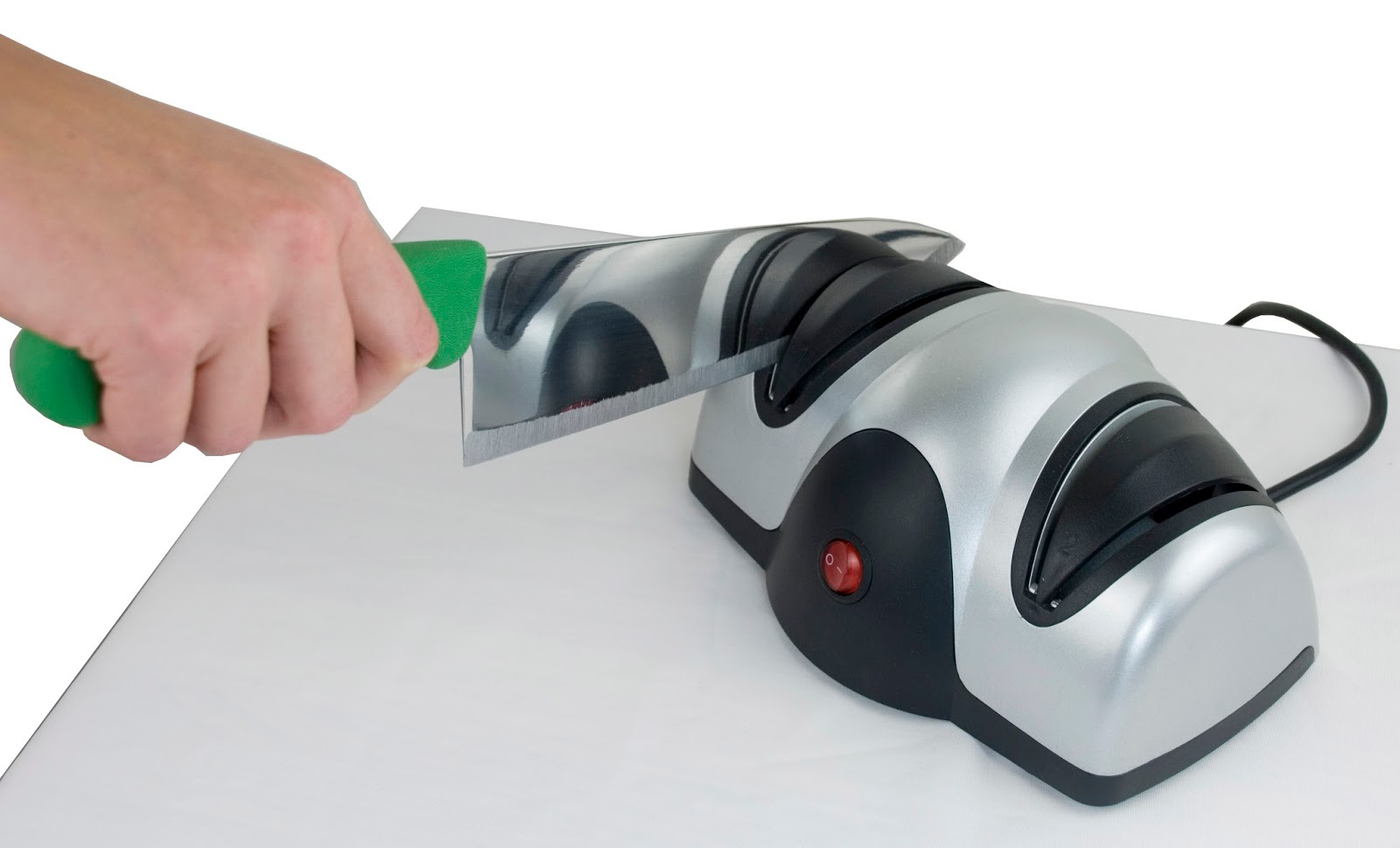 Ножеточка электрическая Migliores Точилка для ножей электрическая, черный, серебристый Migliores