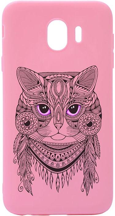 Чехол для сотового телефона GOSSO CASES для Samsung Galaxy J4 (2018) Soft Touch Art Grand Cat Pink, розовый