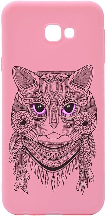 Чехол для сотового телефона GOSSO CASES для Samsung Galaxy J4+ Soft Touch Art Grand Cat Pink, розовый