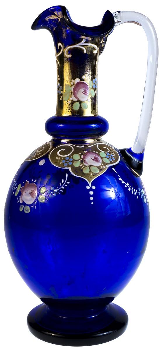 Кувшин Кобальтовое стекло роспись золочение. Высота 22 см. Великобритания начало 20 века, Стекло