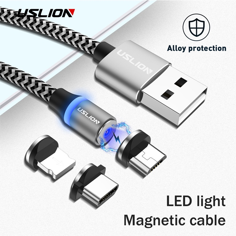 Кабель USLION плетёный USB-кабель, серебристый цена