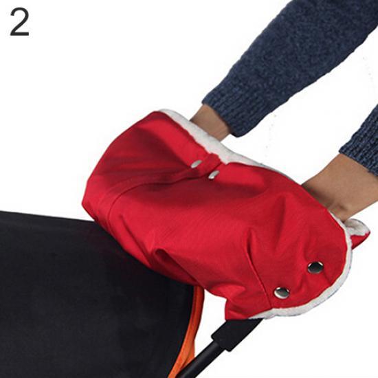 Аксессуар для колясок TopSeller Теплая водонепроницаемая муфта для детской коляски красный муфта для рук еду еду раздельная на коляску плащевая ткань натуральный мех синтепон зима красный