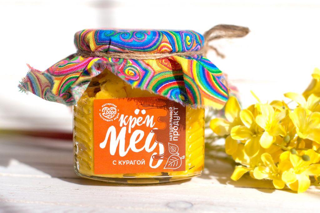 Мед-суфле ТМ Добро Горный крем-мёд с курагой Стеклянная банка, 300 г. мед ice honey с тыквой и айвой 200г стеклянная банка