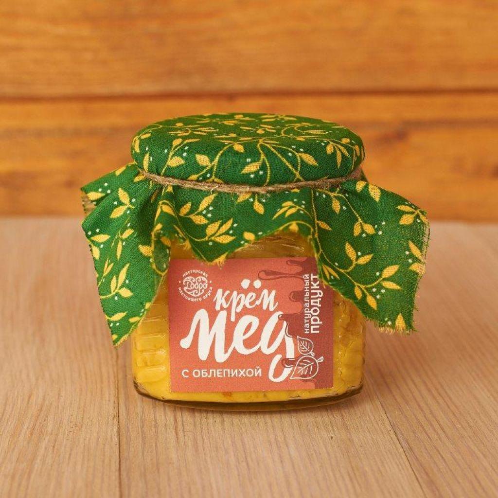 Мед-суфле ТМ Добро Горный крем-мёд с облепихой Стеклянная банка, 300 г. мед ice honey с тыквой и айвой 200г стеклянная банка